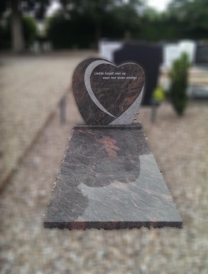 Hartvorm grafsteen Goes
