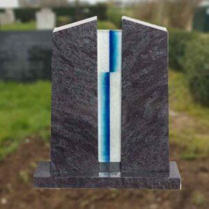 bijzondere grafsteen met glas